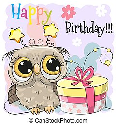 Greeting Birthday card cute Owl with gift