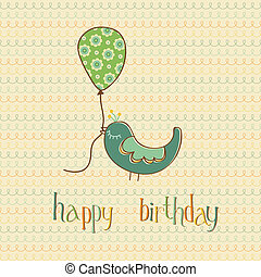 Greeting Birthday Card with Cute Bird holding Balloon - in vector