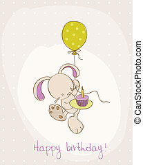 Greeting Birthday Card with Cute Bunny