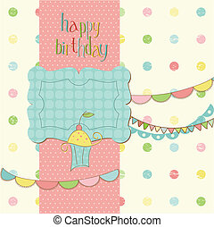 Greeting Birthday Card with Cute cake - with place for your text or photo