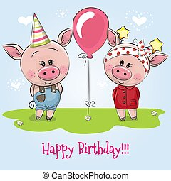Greeting birthday card with cute Pigs