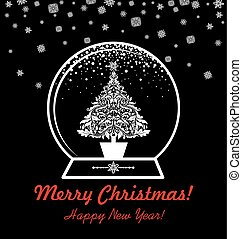 Greeting black and white card with globe with vintage cut out christmas tree