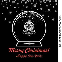 Greeting black and white card with xmas globe with hanging vintage cut out bell