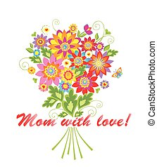 Greeting bouquet for Mothers day - Greeting card with...