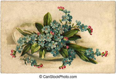 vintage, color flowers greeting card