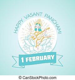 Greeting card 1 February  Happy Vasant Panchami Saraswati