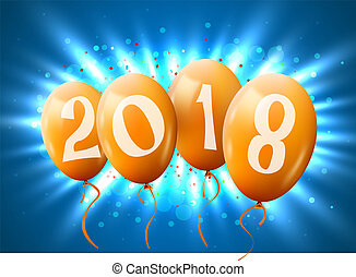Greeting card 2018 Christmas or new year card with realistic golden balloons and numbers on blue background over a light beams. E-mail greetings, web decoration.