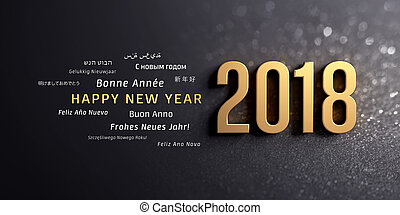 Gold 2018 New Year typescript and greetings in multiple languages, on a glittering black background - 3D illustration