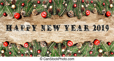 greeting card 2019 and christmas decoration