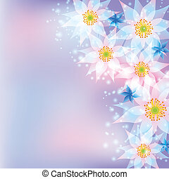 Greeting card, abstract background with flowers