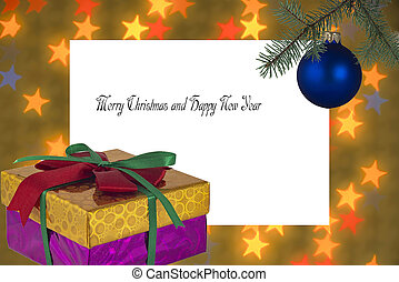 Greeting card and box with a ball on the Christmas tree on the background of stars