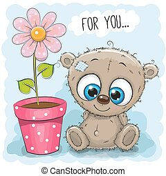 Greeting card Bear with flower