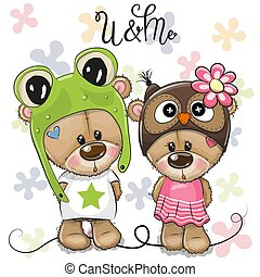 Greeting card Bears boy and girl on a flowers background
