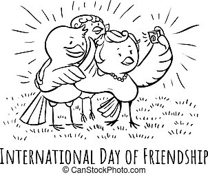 Greeting card Birds Day of Friendship Selfie with friends