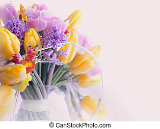 Greeting Card. Bouquet of Colorful Mixed Flowers - Tulips in a Vase. Floristics