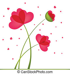 Greeting Card. Bouquet of Flowers in a heart-shaped, built...