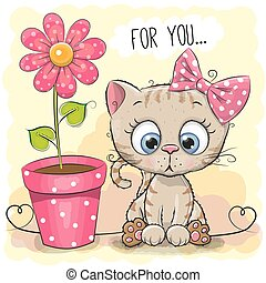 Greeting card Cat with flower - Greeting card kitten girl...