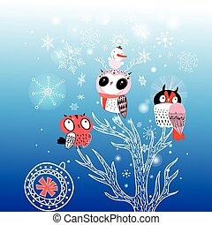 Greeting card Christmas with funny owls