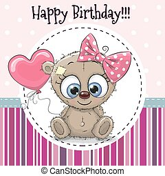 Greeting card Cute cartoon Bear girl