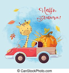 Greeting card cute cartoon giraffe on a truck with pumpkin and autumn fruits. Autumn.