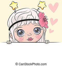 Greeting card cute Cartoon Girl