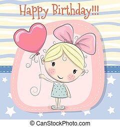 Cute Cartoon girl with balloon