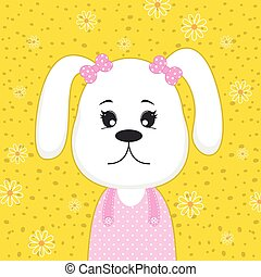 Greeting card cute cartoon little dog puppy on yellow background.