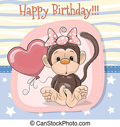 Cute Cartoon Monkey with balloon
