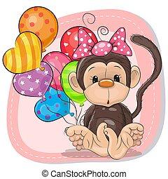 Cute Cartoon Monkey with balloons