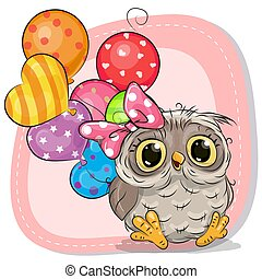 Cute Cartoon Owl girl with balloons