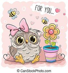 Cute Cartoon Owl with flower