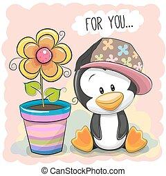Cute Cartoon Penguin with flower