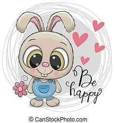 Cute Cartoon Rabbit with flower