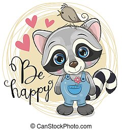 Cute Cartoon Raccoon with flower