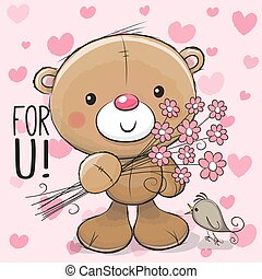 Cute Cartoon Teddy Bear with a flower