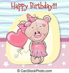 Cute Cartoon Teddy bear with balloon