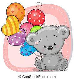 Cute Cartoon Teddy Bear with balloons