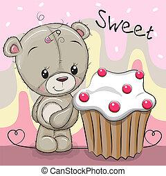 Cute Cartoon Teddy Bear with cake