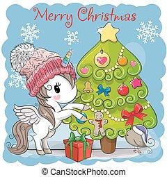 Cute Cartoon Unicorn in a scarf - Greeting card Cute Cartoon...