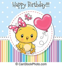 Greeting card Cute Chicken girl with balloon