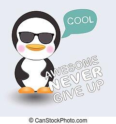 Greeting card Cute Cool penguin.