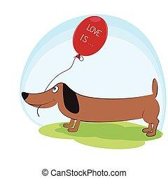 Greeting  card, cute dog dachshund with balloon.