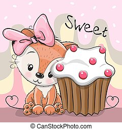 Greeting card Cute Fox with cake