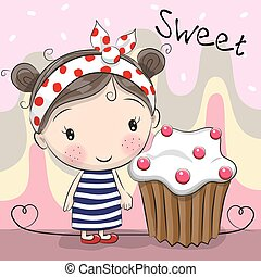 Greeting card Cute Girl with cake