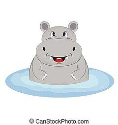 Greeting card cute happy hippo on the beach.