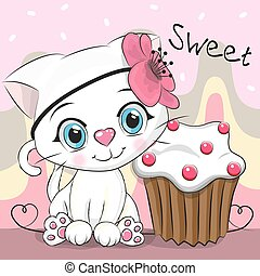 Greeting card Cute Kitten with cake