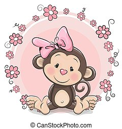 Greeting card cute Monkey girl