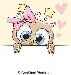 Greeting card cute Owl Girl