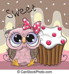 Greeting card Cute Owl with cake