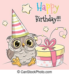 Greeting card cute Owl with gift
